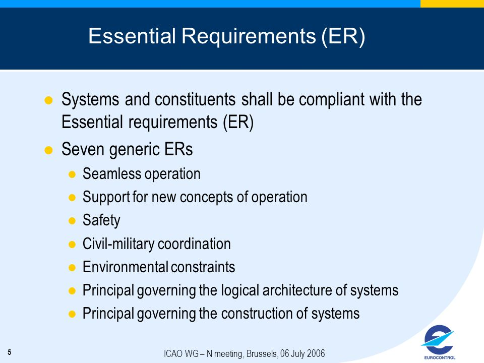 Essential Requirements (ER)