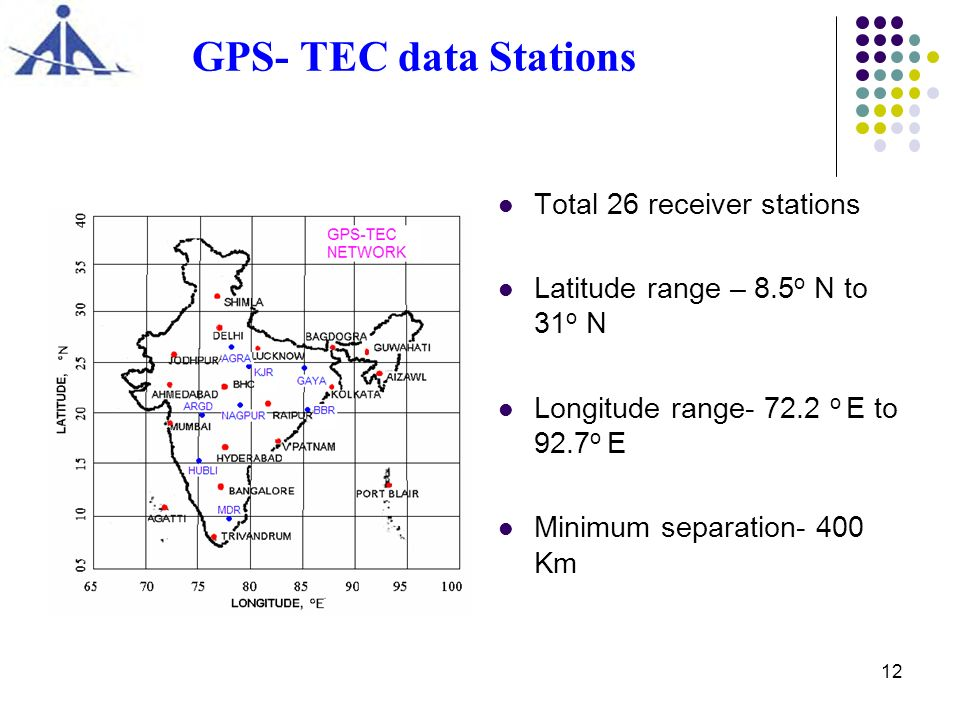 GPS- TEC data Stations Total 26 receiver stations