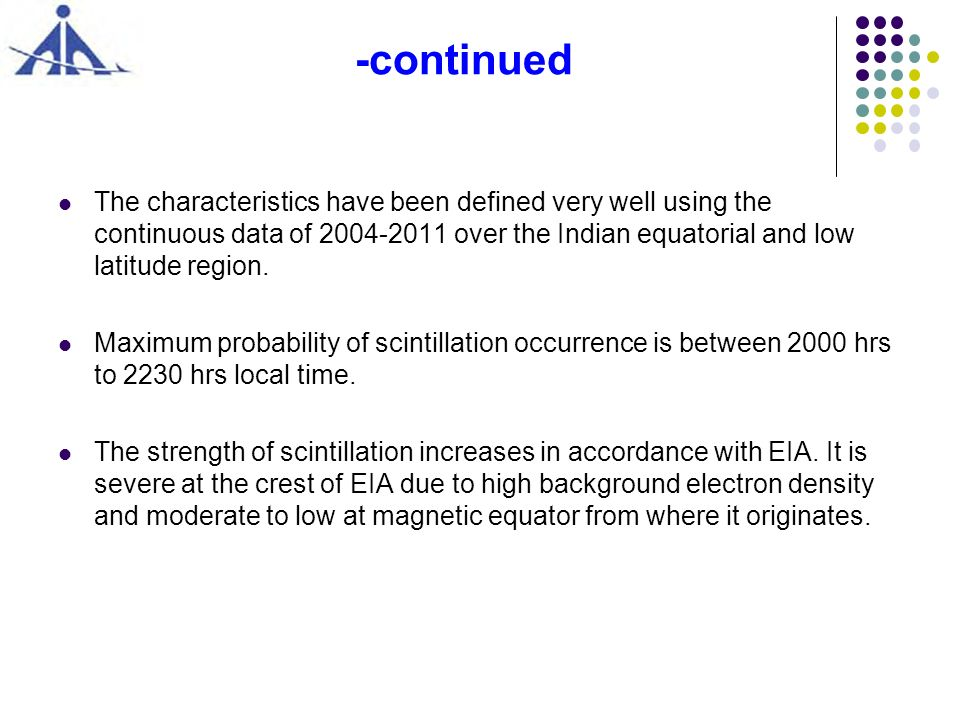 -continued The characteristics have been defined very well using the continuous data of 2004-2011 over the Indian equatorial and low latitude region.