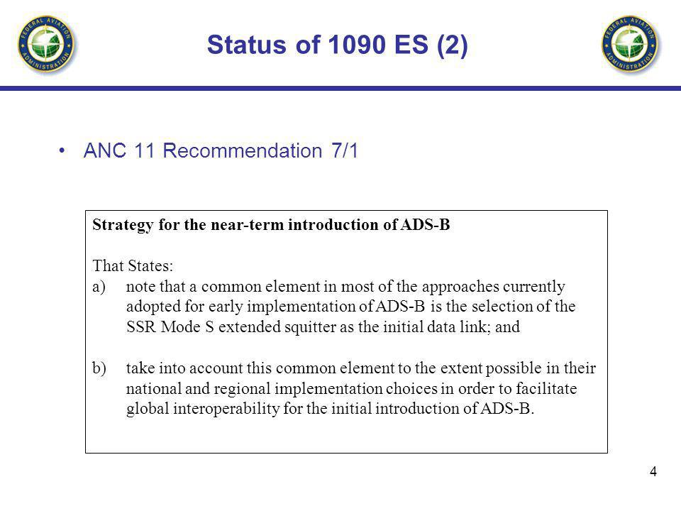 Status of 1090 ES (2) ANC 11 Recommendation 7/1