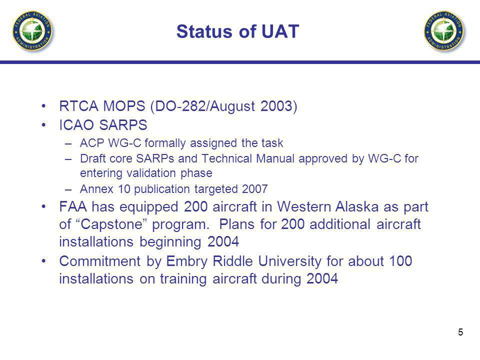 Status of UAT RTCA MOPS (DO-282/August 2003) ICAO SARPS