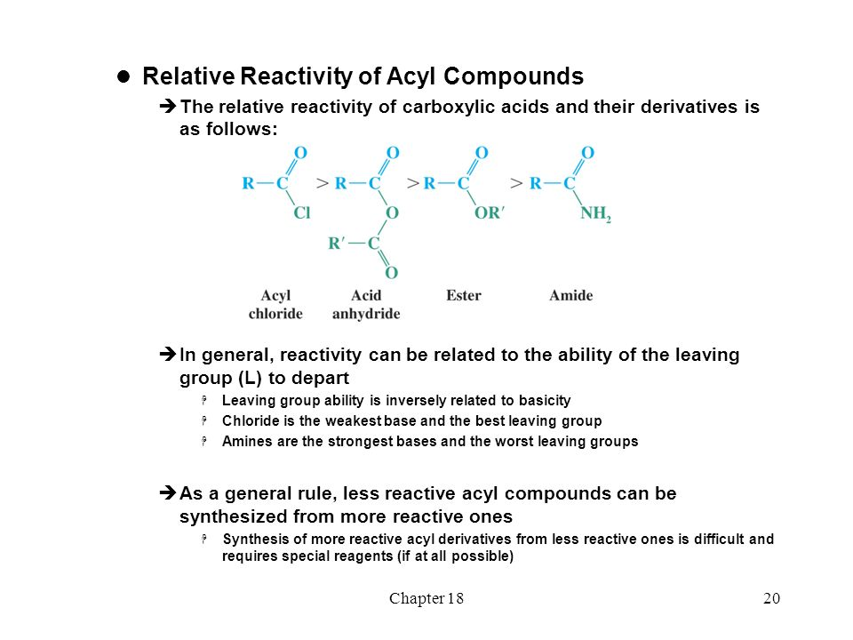 acyl compounds View notes - acyl compounds from chem 120 at devry university, chicago 1 of 38 boardworks ltd 2010 2 of 38 boardworks ltd 2010 what are esters esters are carboxylic acid derivatives with the.