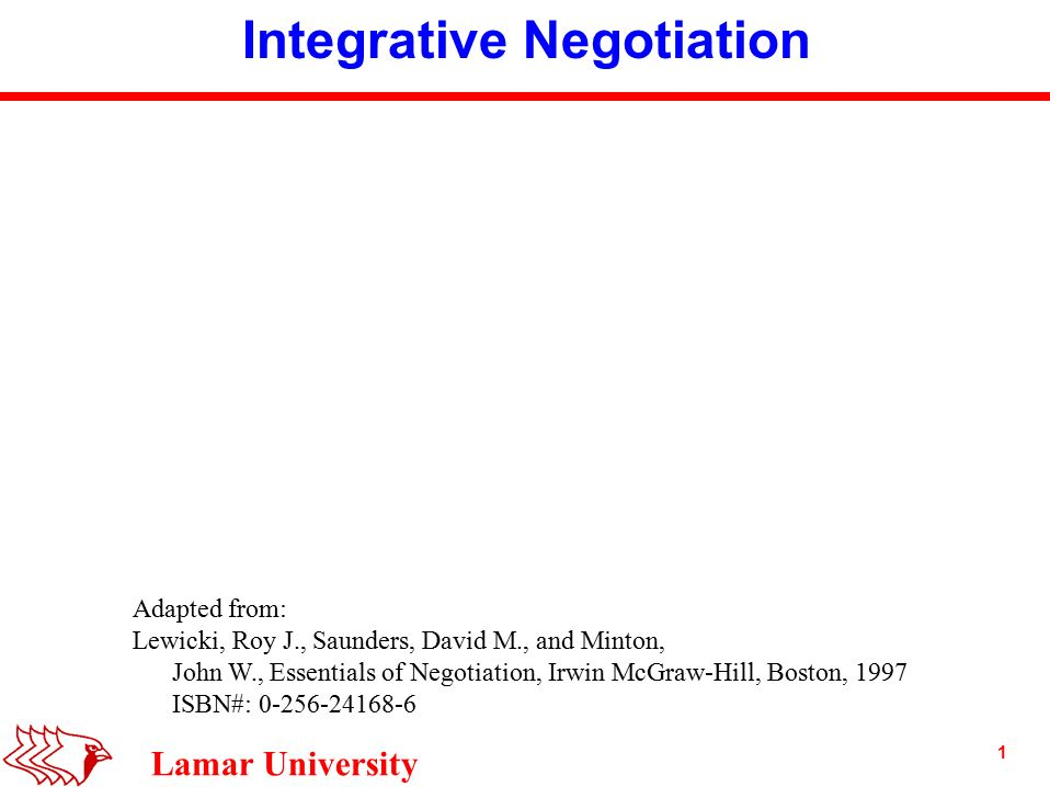 negotiation integrative negotiation 'integrative negotiation' – this is one of the topics i have learned from this paper at first, it seems a quite new term for me of course, as a manager i negotiated with somebody in any situation but, what does 'the integrative negotiation' mean are there any other types of negotiation then, what differences.