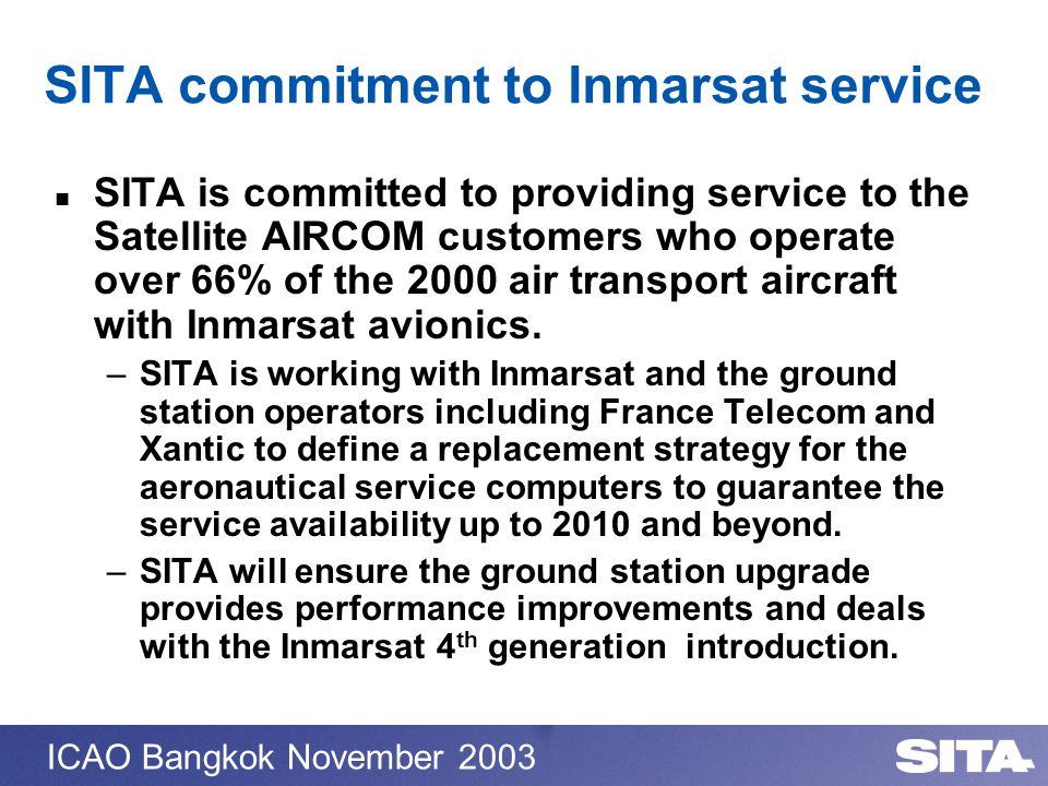 SITA commitment to Inmarsat service