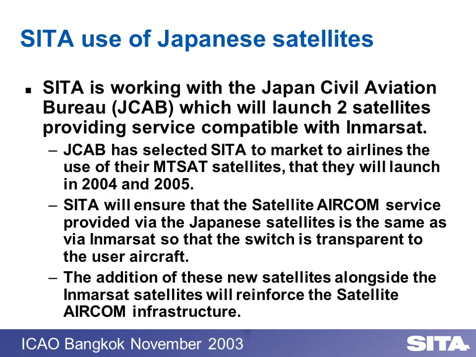 SITA use of Japanese satellites