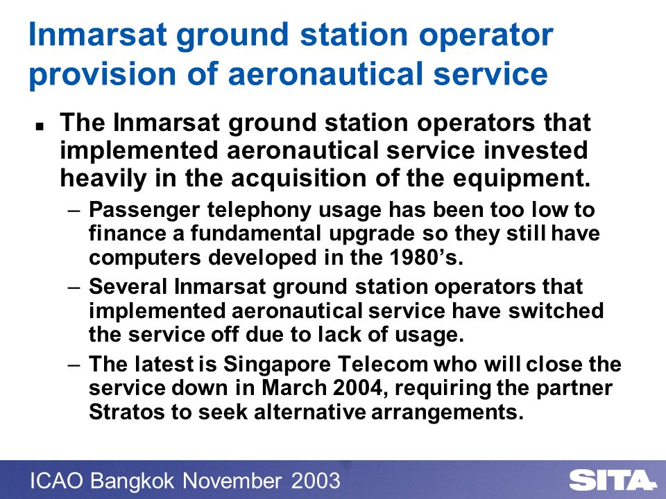 Inmarsat ground station operator provision of aeronautical service