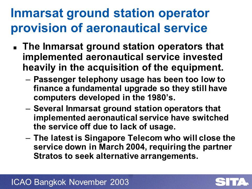 Inmarsat ground station operator provision of aeronautical service