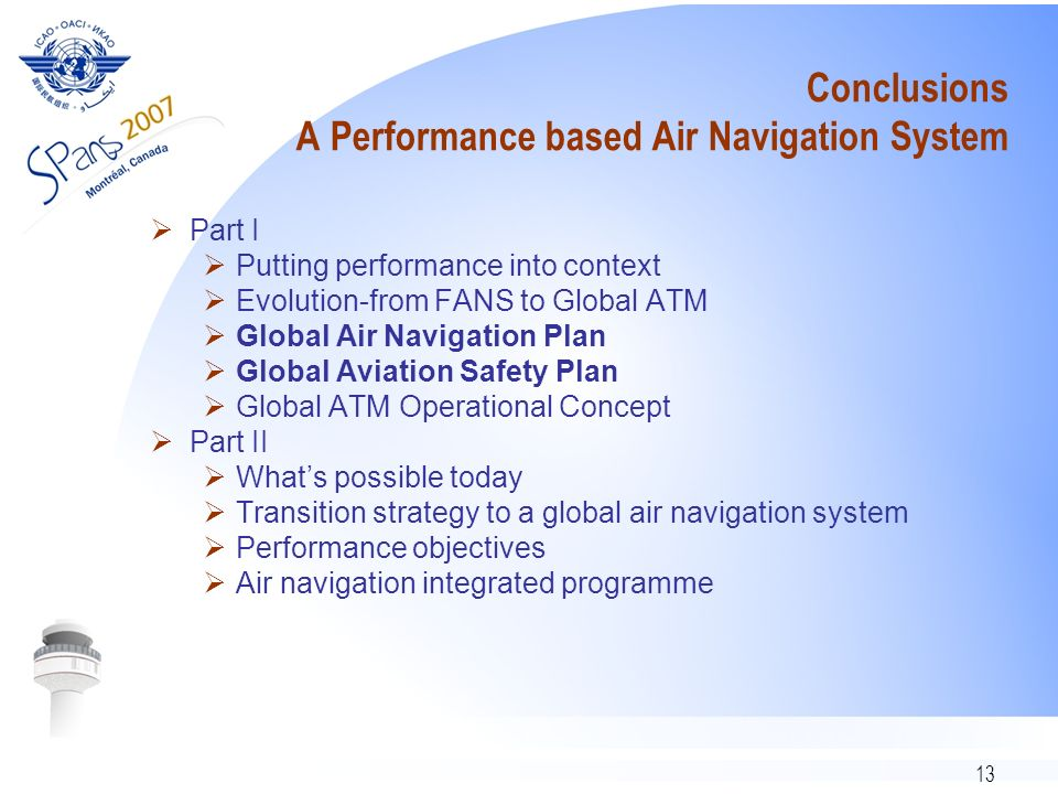 Conclusions A Performance based Air Navigation System