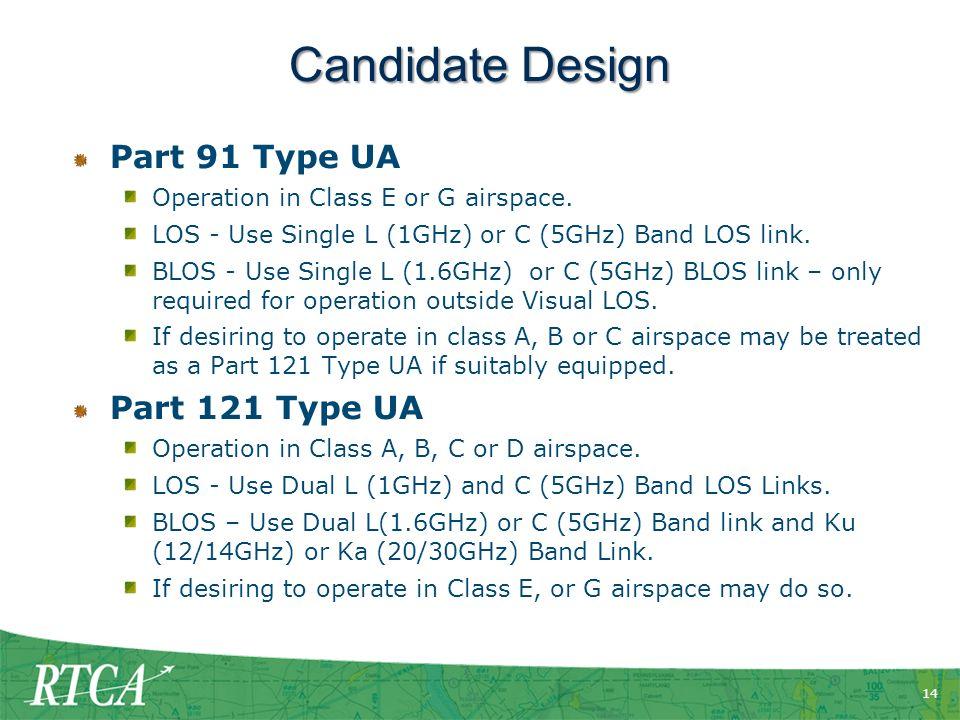 Candidate Design Part 91 Type UA Part 121 Type UA