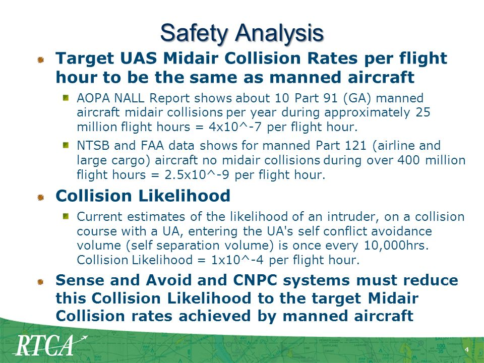 Safety Analysis Target UAS Midair Collision Rates per flight hour to be the same as manned aircraft.