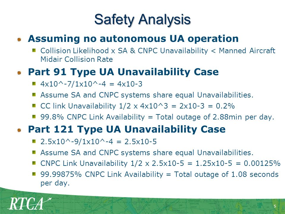 Safety Analysis Assuming no autonomous UA operation