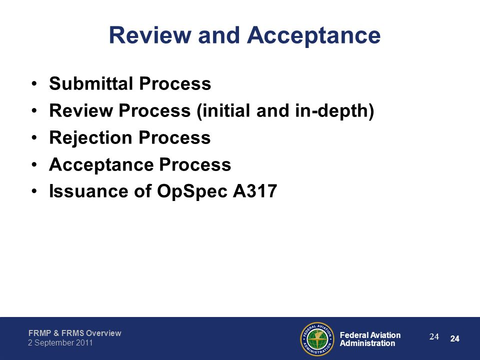 Review and Acceptance Submittal Process