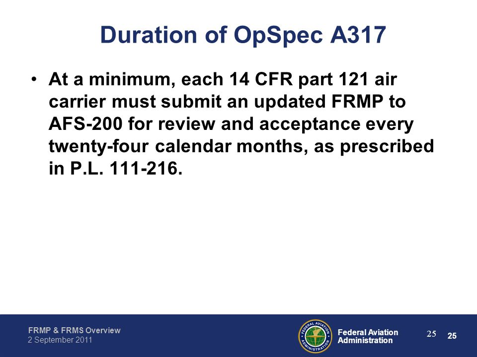 Duration of OpSpec A317
