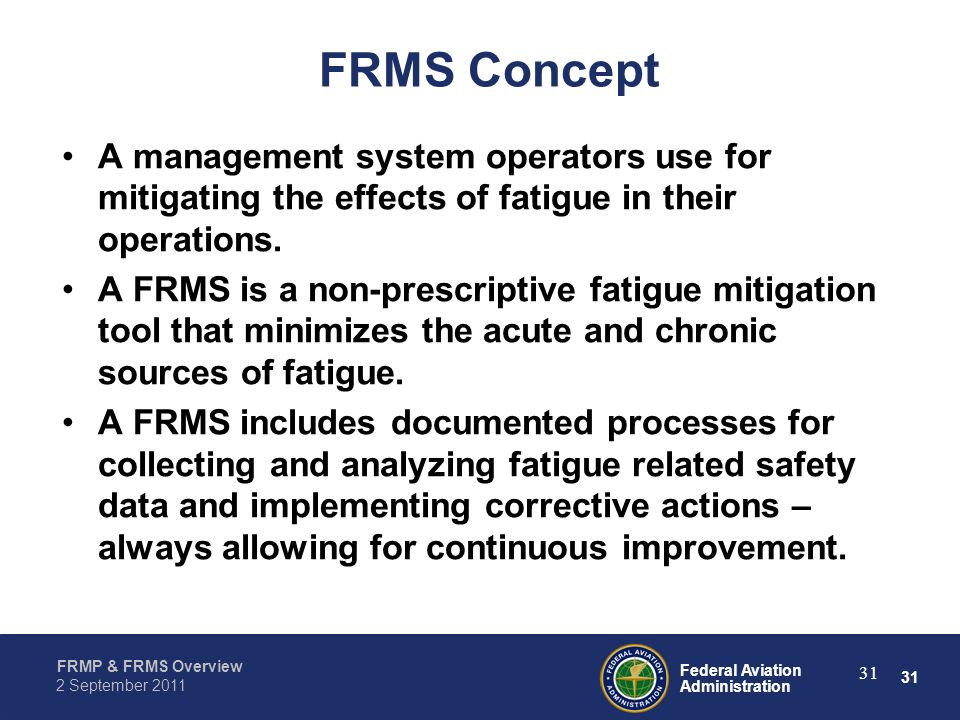 FRMS Concept A management system operators use for mitigating the effects of fatigue in their operations.