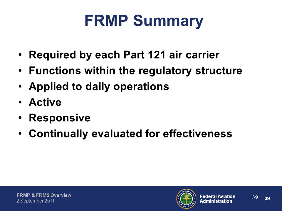 FRMP Summary Required by each Part 121 air carrier