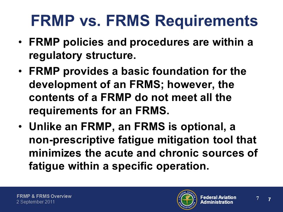 FRMP vs. FRMS Requirements