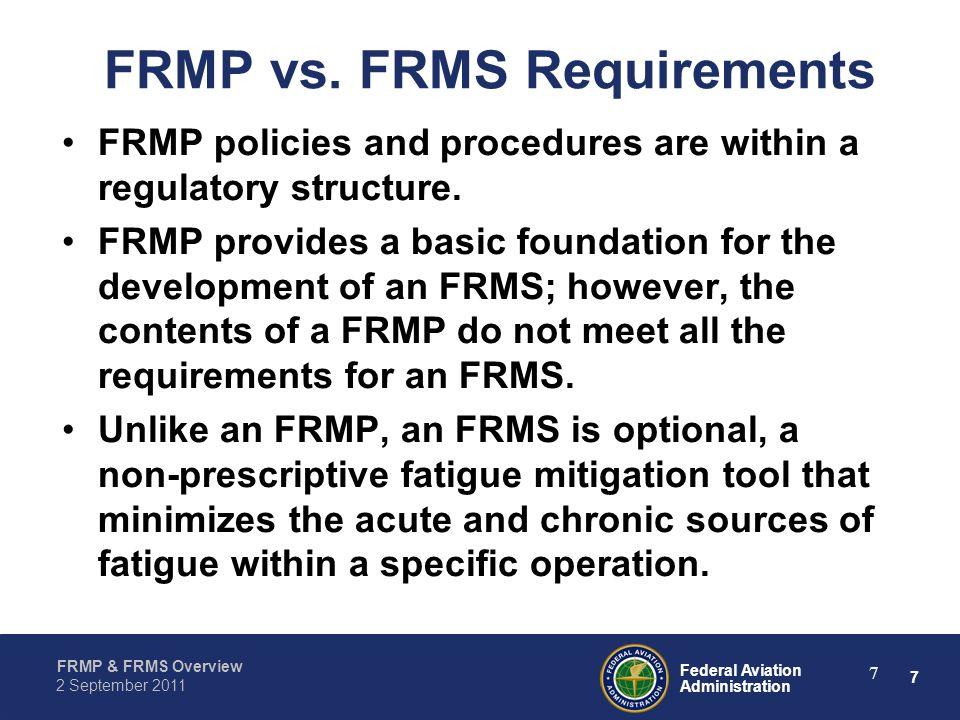 FRMP vs. FRMS Requirements