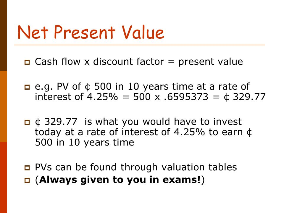 net present value and discounted cash We cover the basics of the discount rate as it's used in discounted cash  what you should know about the discount  the net present value for the given cash.