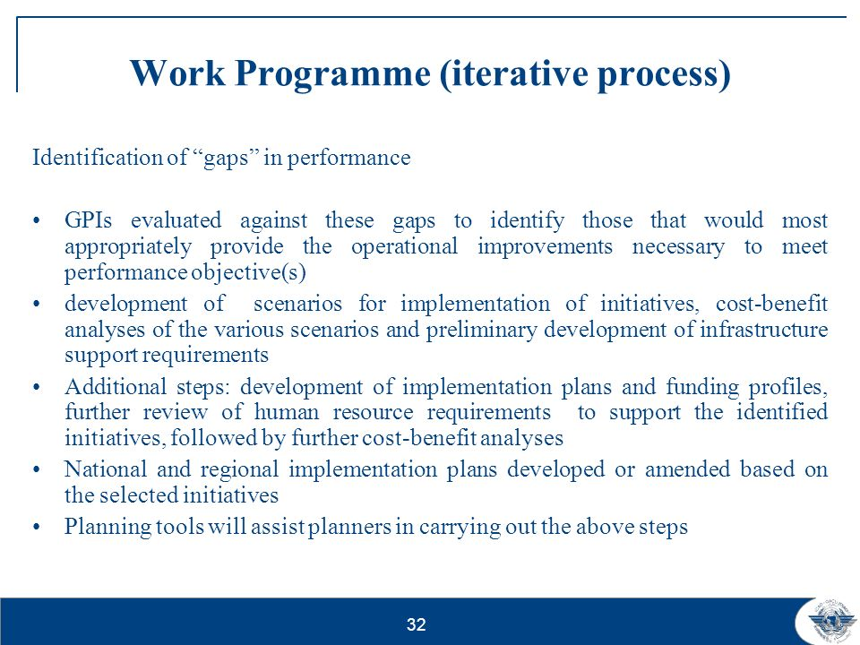 Work Programme (iterative process)