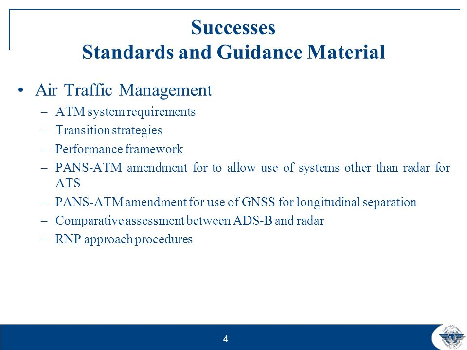 Successes Standards and Guidance Material