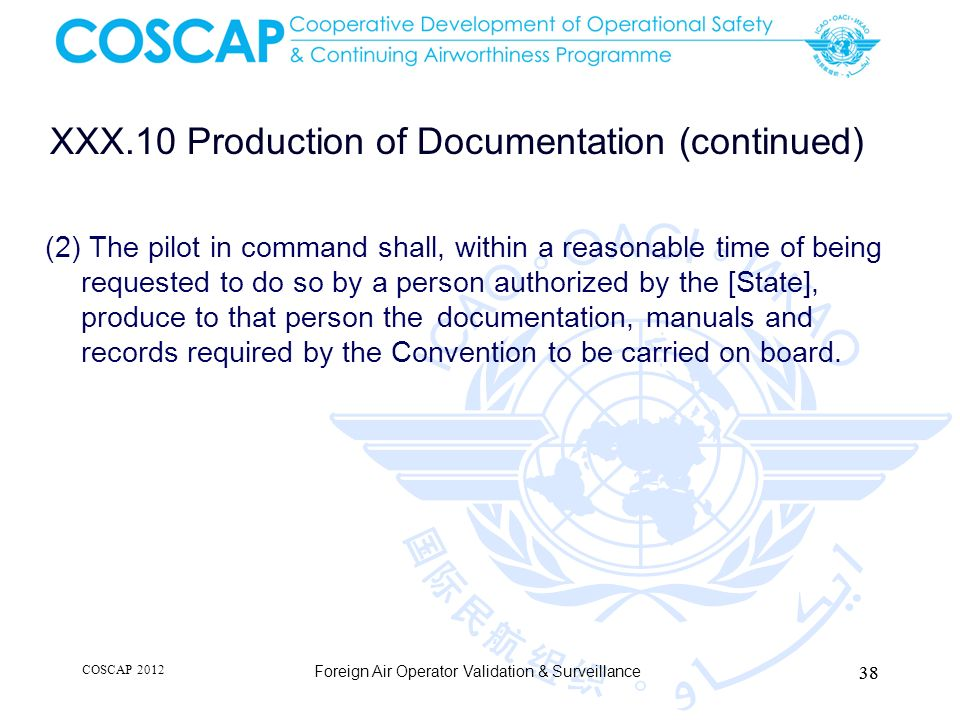 XXX.10 Production of Documentation (continued)