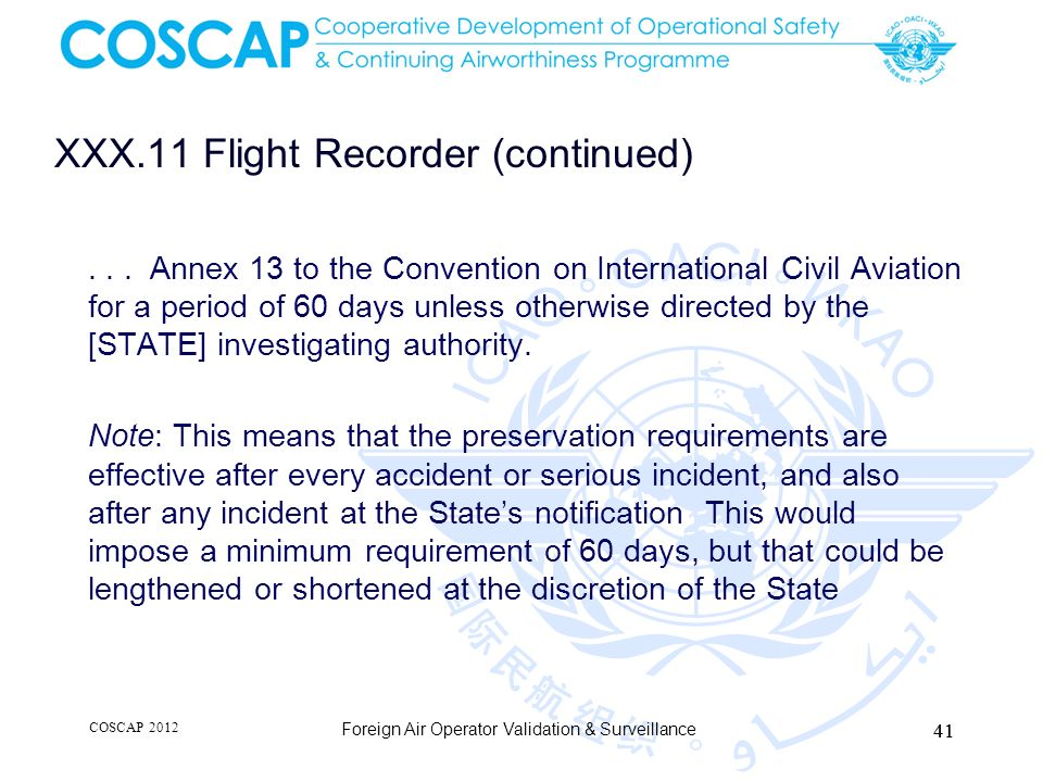 XXX.11 Flight Recorder (continued)