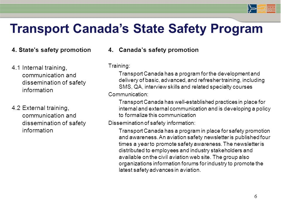 Transport Canada's State Safety Program