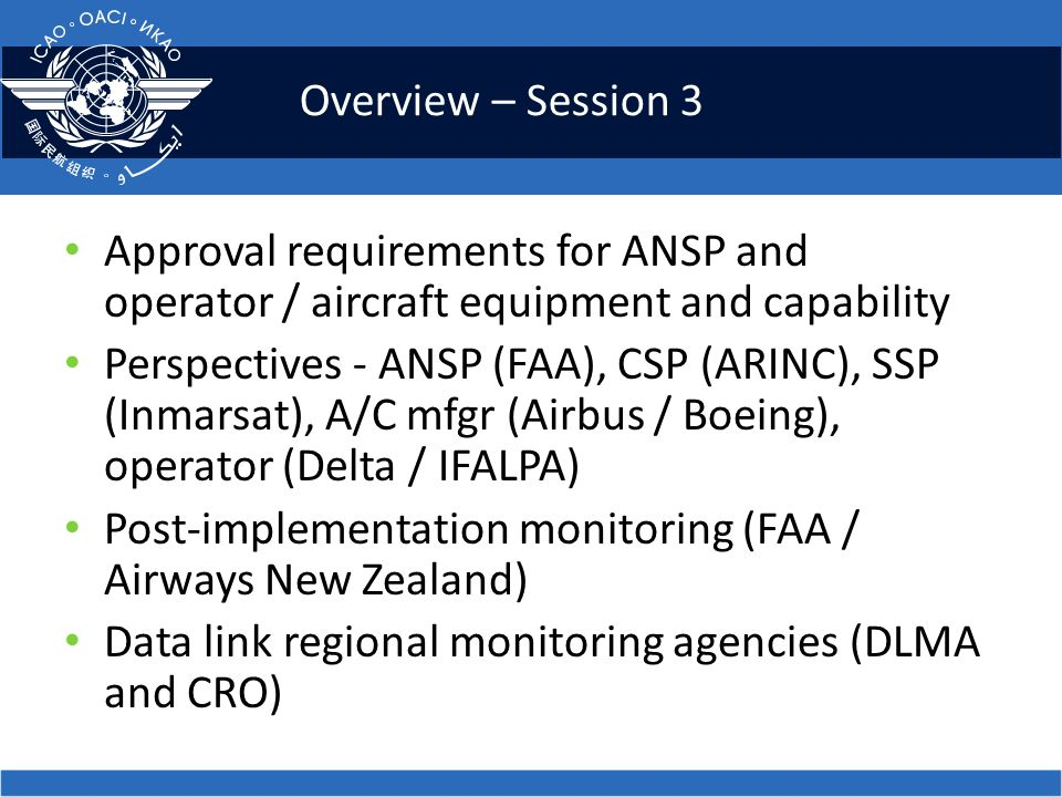 Overview – Session 3 Approval requirements for ANSP and operator / aircraft equipment and capability.