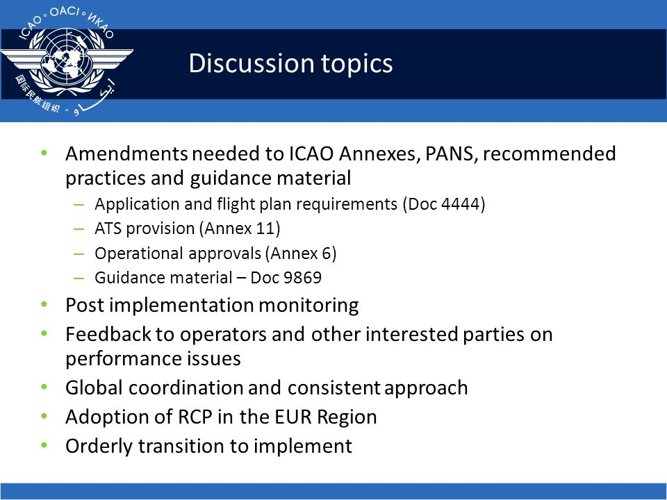 Discussion topics Amendments needed to ICAO Annexes, PANS, recommended practices and guidance material.