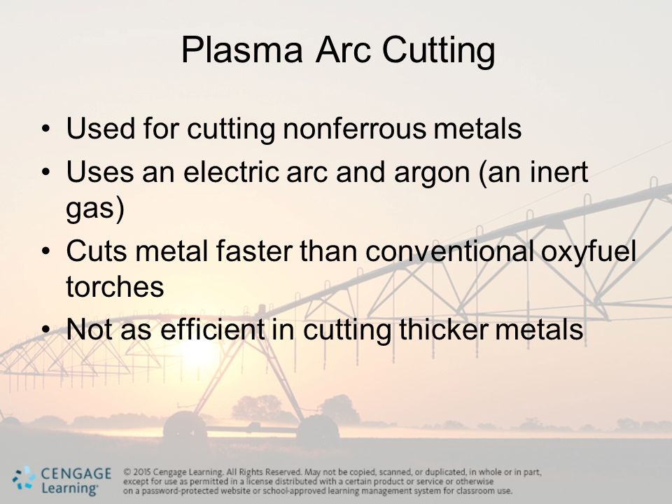 Plasma Arc Cutting Used for cutting nonferrous metals