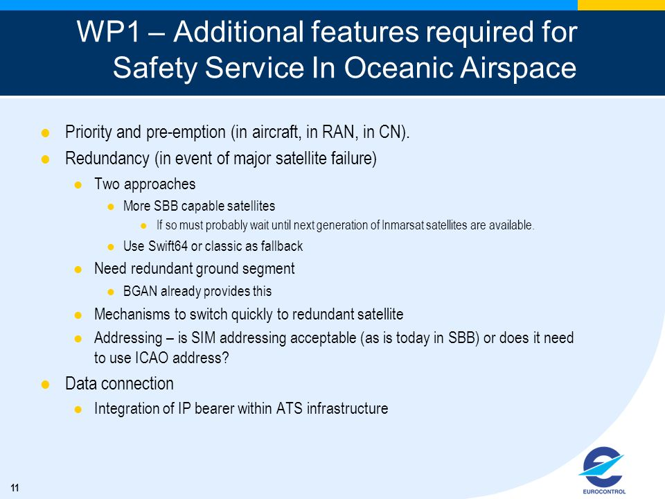 WP1 – Additional features required for Safety Service In Oceanic Airspace