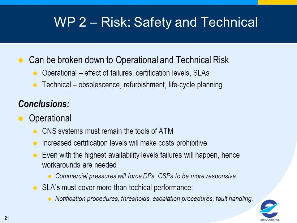 WP 2 – Risk: Safety and Technical