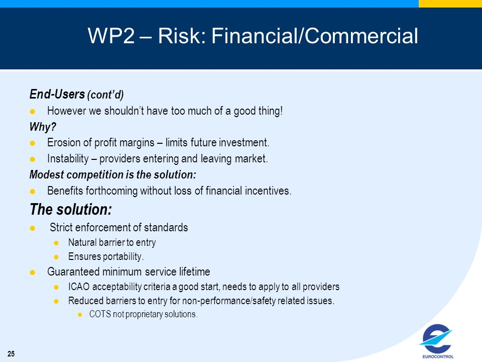 WP2 – Risk: Financial/Commercial