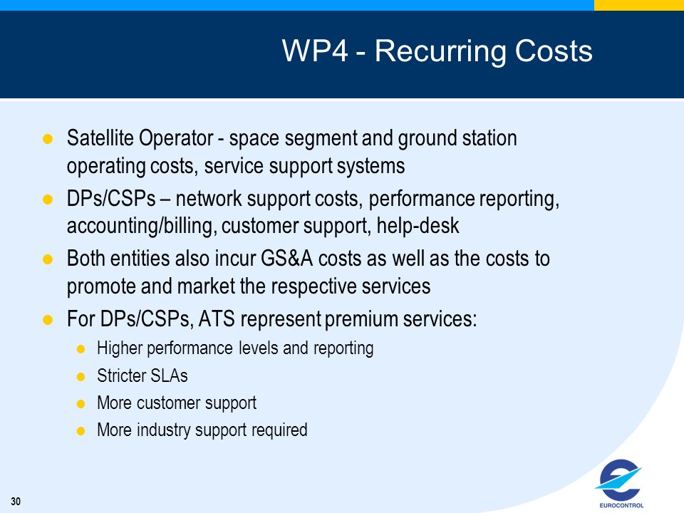 WP4 - Recurring Costs Satellite Operator - space segment and ground station operating costs, service support systems.