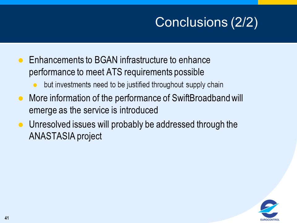 Conclusions (2/2) Enhancements to BGAN infrastructure to enhance performance to meet ATS requirements possible.