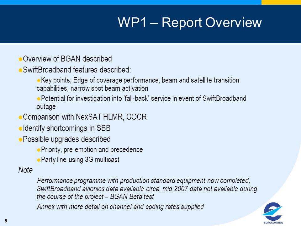 WP1 – Report Overview Overview of BGAN described