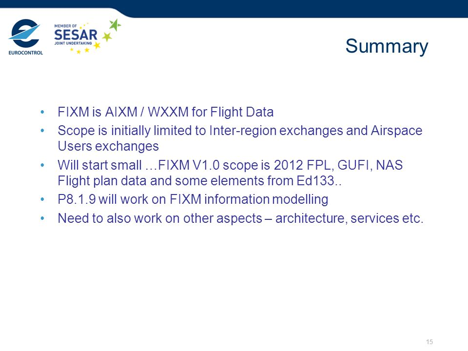 Summary FIXM is AIXM / WXXM for Flight Data