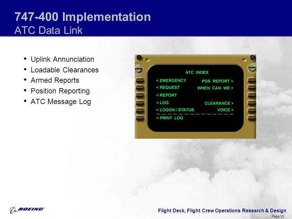 747-400 Implementation ATC Data Link