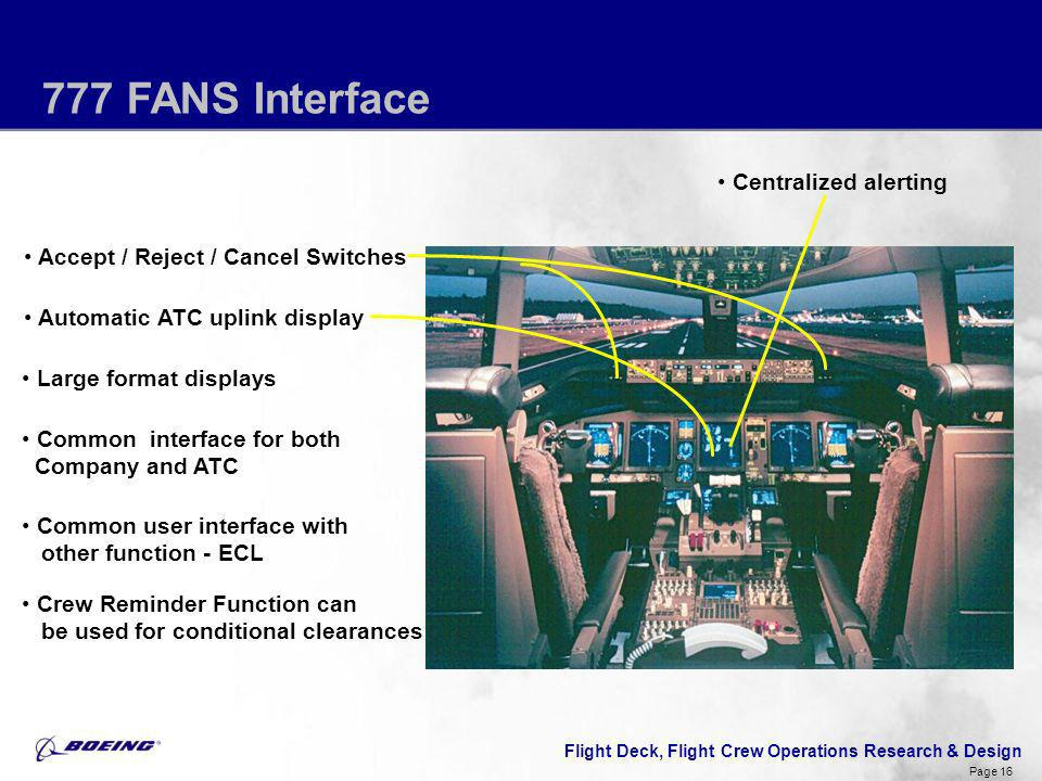 777 FANS Interface Centralized alerting
