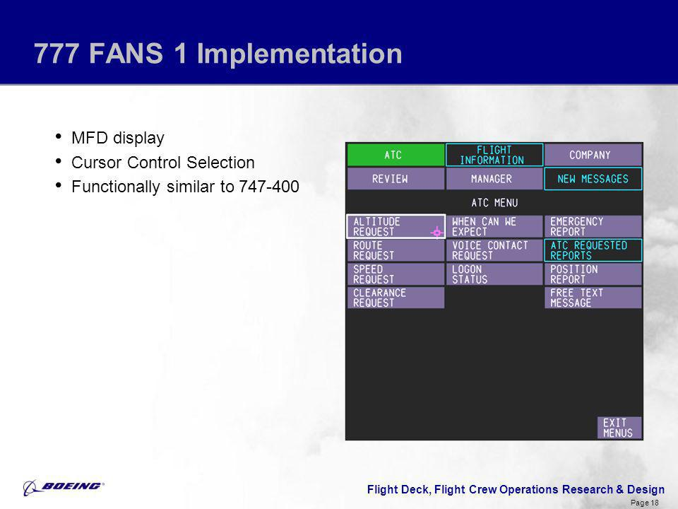 777 FANS 1 Implementation MFD display Cursor Control Selection