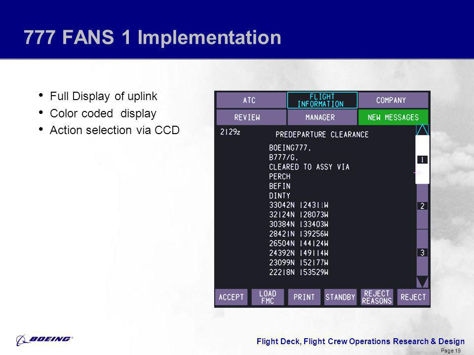 777 FANS 1 Implementation Full Display of uplink Color coded display