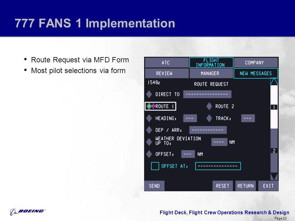 777 FANS 1 Implementation Route Request via MFD Form