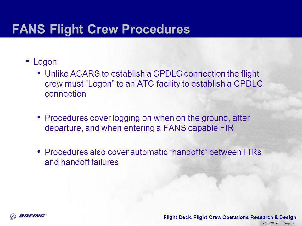FANS Flight Crew Procedures