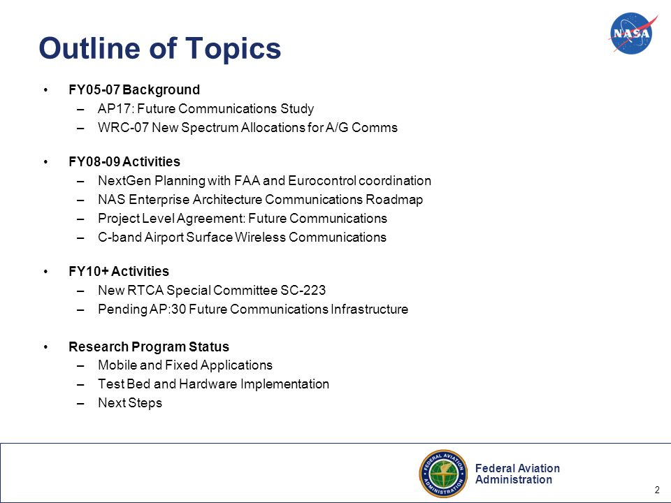 Outline of Topics FY05-07 Background AP17: Future Communications Study