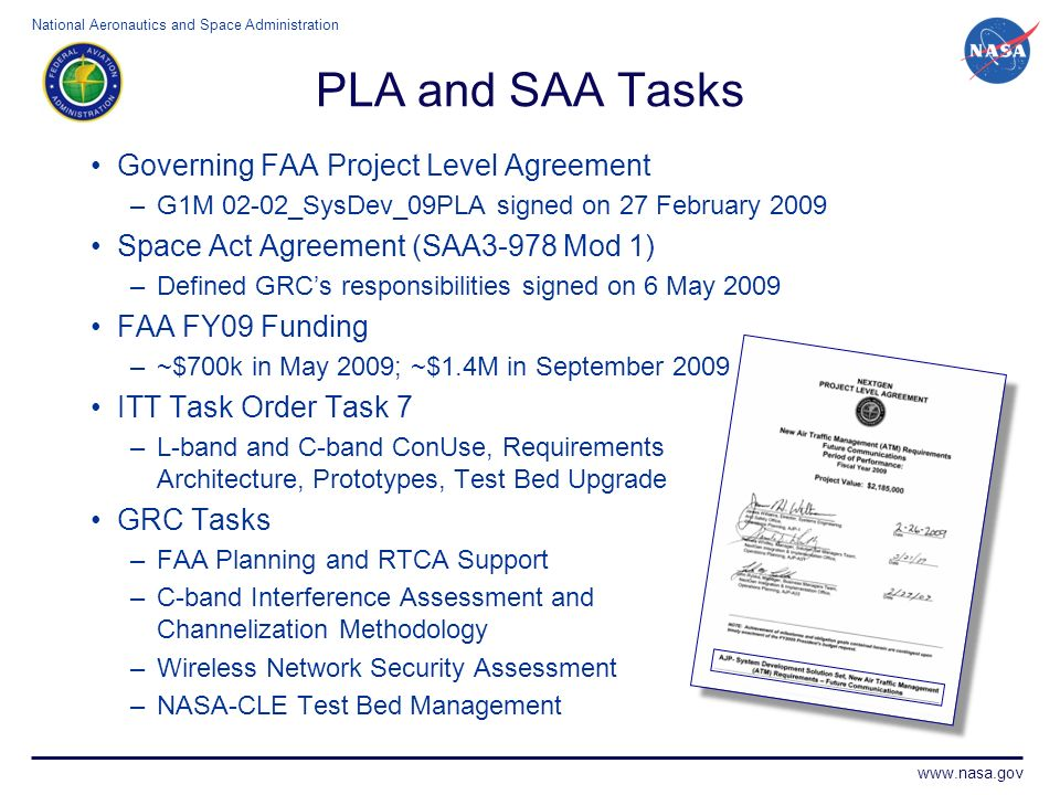 PLA and SAA Tasks Governing FAA Project Level Agreement
