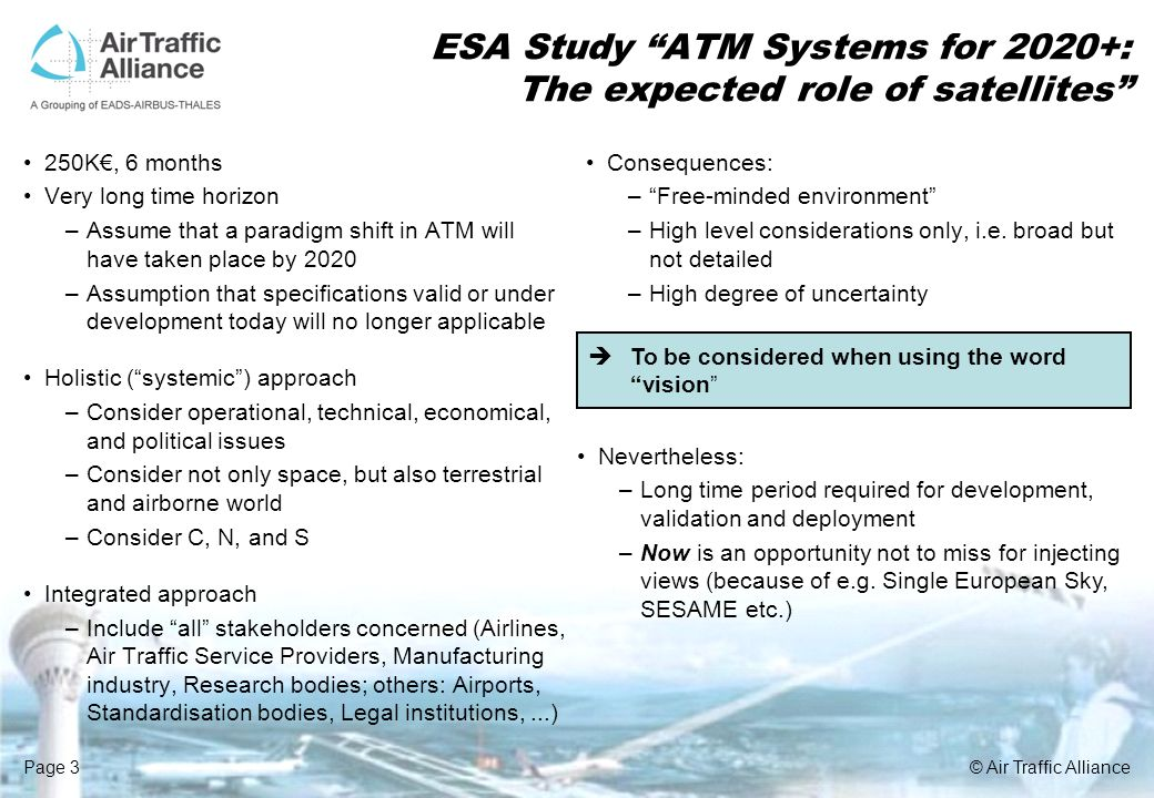 ESA Study ATM Systems for 2020+: The expected role of satellites