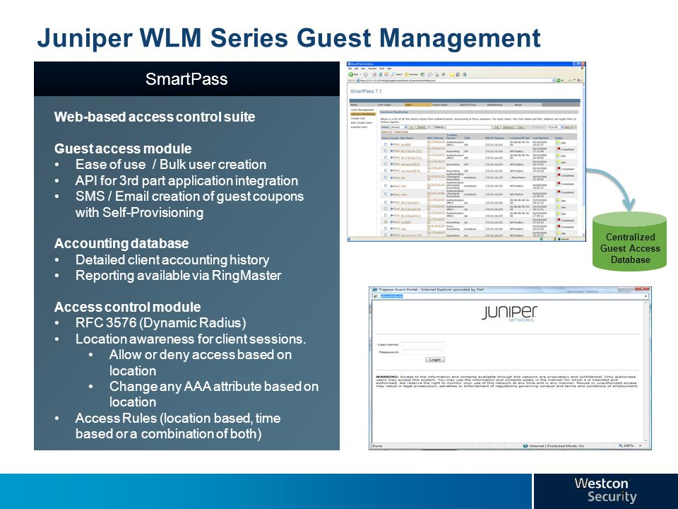Juniper WLM Series Guest Management