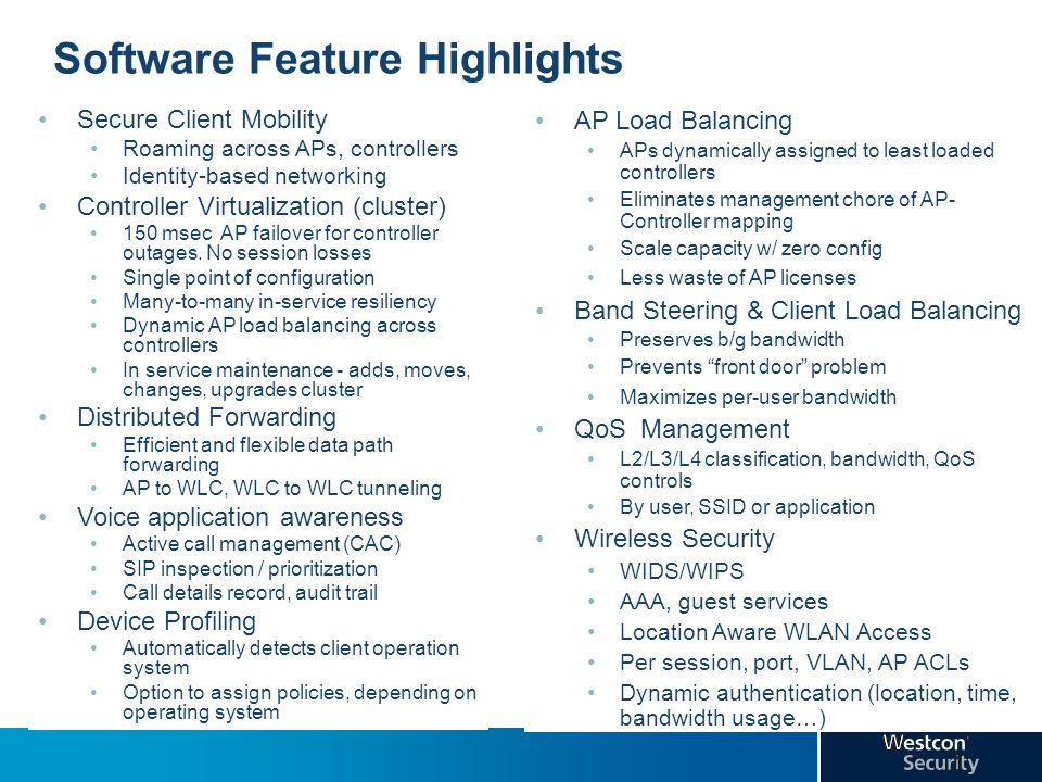 Software Feature Highlights