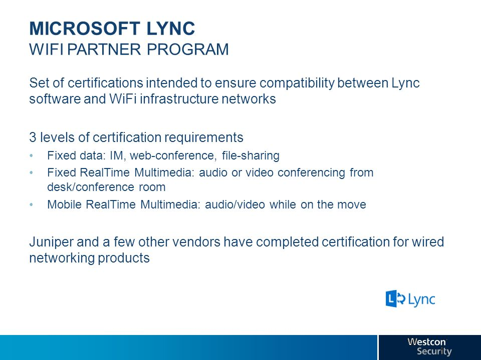 MICROSOFT LYNC WIFI PARTNER PROGRAM