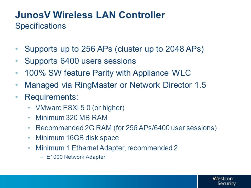 JunosV Wireless LAN Controller Specifications
